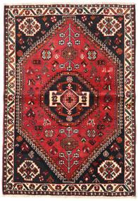 Shiraz Teppich 106X154 Echter Orientalischer Handgeknüpfter Schwartz/Dunkelrot (Wolle, Persien/Iran)