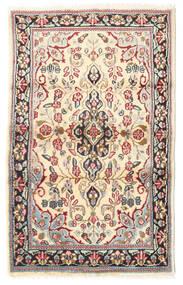 Kerman Teppich 88X140 Echter Orientalischer Handgeknüpfter Hellbraun/Beige (Wolle, Persien/Iran)