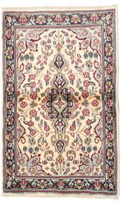 Kerman Teppich  90X140 Echter Orientalischer Handgeknüpfter Beige/Dunkelgrau (Wolle, Persien/Iran)