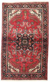 Heriz Teppich  87X145 Echter Orientalischer Handgeknüpfter Dunkelrot/Dunkelbraun (Wolle, Persien/Iran)