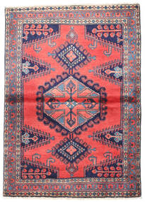 Wiss Teppich 110X155 Echter Orientalischer Handgeknüpfter Dunkellila/Dunkelgrau (Wolle, Persien/Iran)