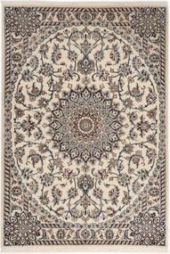 Nain 6La Teppich  98X141 Echter Orientalischer Handgeknüpfter Hellgrau/Beige (Wolle/Seide, Persien/Iran)
