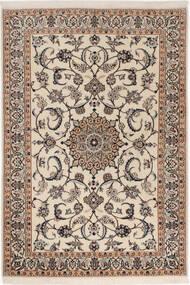 Nain 6La Teppich  98X145 Echter Orientalischer Handgeknüpfter Hellgrau/Beige (Wolle/Seide, Persien/Iran)