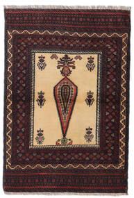 Belutsch Teppich 88X126 Echter Orientalischer Handgeknüpfter Dunkelrot/Dunkelbraun (Wolle, Persien/Iran)