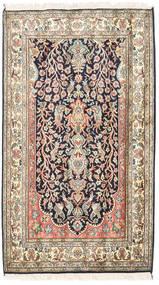 Kaschmir Reine Seide Teppich 83X126 Echter Orientalischer Handgeknüpfter Beige/Dunkellila (Seide, Indien)