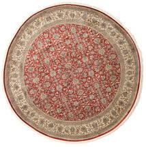 Kaschmir Reine Seide Teppich Ø 245 Echter Orientalischer Handgeknüpfter Rund Hellbraun/Hellgrau (Seide, Indien)