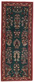Ghom Kork/Seide Teppich  82X206 Echter Orientalischer Handgeknüpfter Läufer Dunkelgrün/Dunkelrot (Wolle/Seide, Persien/Iran)