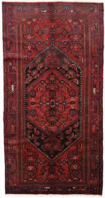 Hamadan Teppich  139X264 Echter Orientalischer Handgeknüpfter Dunkelrot/Schwartz (Wolle, Persien/Iran)