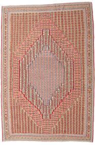Kelim Senneh Teppich 203X306 Echter Orientalischer Handgewebter Dunkelrot/Hellbraun (Wolle, Persien/Iran)