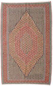Kelim Senneh Teppich 152X245 Echter Orientalischer Handgewebter Hellgrau/Dunkelrot (Wolle, Persien/Iran)