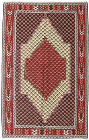 Kelim Senneh Teppich 127X202 Echter Orientalischer Handgewebter Dunkelbraun/Dunkelrot (Wolle, Persien/Iran)
