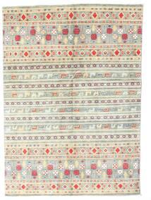Kazak Teppich 142X199 Echter Orientalischer Handgeknüpfter Beige/Hellgrau (Wolle, Pakistan)