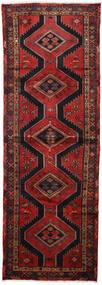 Hamadan Teppich  100X290 Echter Orientalischer Handgeknüpfter Läufer Dunkelrot/Schwartz (Wolle, Persien/Iran)