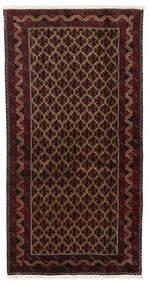 Belutsch Teppich  96X188 Echter Orientalischer Handgeknüpfter Dunkelrot/Dunkelbraun (Wolle, Persien/Iran)