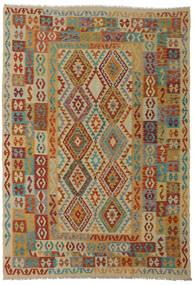 Kelim Afghan Old Style Teppich 206X295 Echter Orientalischer Handgewebter Dunkelrot/Hellbraun (Wolle, Afghanistan)
