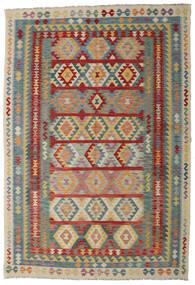 Kelim Afghan Old Style Teppich 200X296 Echter Orientalischer Handgewebter Dunkelrot/Hellgrau (Wolle, Afghanistan)