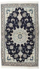 Nain Teppich  90X152 Echter Orientalischer Handgeknüpfter Schwartz/Dunkelgrau (Wolle, Persien/Iran)