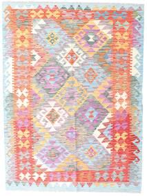 Kelim Afghan Old Style Teppich  132X178 Echter Orientalischer Handgewebter Weiß/Creme/Hellrosa (Wolle, Afghanistan)