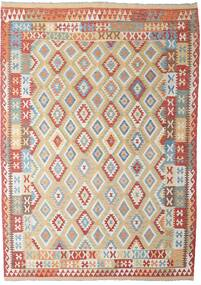 Kelim Afghan Old Style Teppich  206X294 Echter Orientalischer Handgewebter Hellgrau/Dunkelrot (Wolle, Afghanistan)