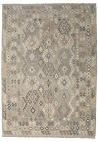 Kelim Afghan Old Style Teppich  213X296 Echter Orientalischer Handgewebter Hellgrau/Olivgrün (Wolle, Afghanistan)