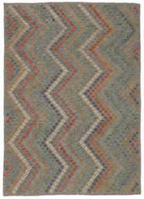 Kelim Afghan Old Style Teppich  213X285 Echter Orientalischer Handgewebter Hellgrau/Dunkelgrau (Wolle, Afghanistan)