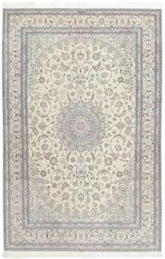 Nain 6La Teppich  207X317 Echter Orientalischer Handgeknüpfter Hellgrau/Dunkel Beige (Wolle/Seide, Persien/Iran)