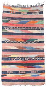 Berber Moroccan - Boucherouite Teppich  158X309 Echter Moderner Handgeknüpfter Läufer Hellrosa/Dunkelblau ( Marokko)