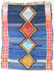 Berber Moroccan - Boucherouite Teppich 172X220 Echter Moderner Handgeknüpfter Blau/Dunkelblau ( Marokko)