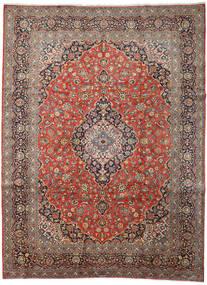Keshan Teppich  313X418 Echter Orientalischer Handgeknüpfter Hellbraun/Dunkelgrau Großer (Wolle, Persien/Iran)