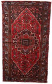 Hamadan Teppich  133X236 Echter Orientalischer Handgeknüpfter Dunkelrot (Wolle, Persien/Iran)