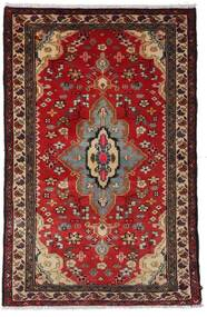 Hamadan Teppich 79X121 Echter Orientalischer Handgeknüpfter Dunkelrot/Dunkelbraun (Wolle, Persien/Iran)