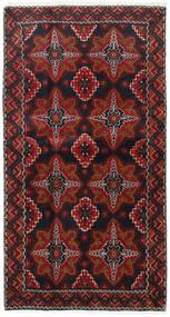 Belutsch Teppich  103X193 Echter Orientalischer Handgeknüpfter Dunkelrot/Dunkelbraun (Wolle, Persien/Iran)