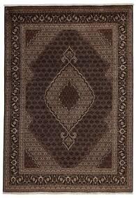 Täbriz 40 Raj Teppich  200X288 Echter Orientalischer Handgeknüpfter Dunkelrot/Dunkelbraun (Wolle/Seide, Persien/Iran)
