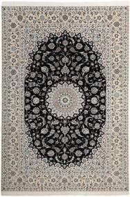 Nain 6La Teppich  210X311 Echter Orientalischer Handgeknüpfter Hellgrau/Dunkelgrau (Wolle/Seide, Persien/Iran)
