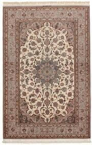 Isfahan Seidenkette Teppich  158X238 Echter Orientalischer Handgewebter Hellgrau/Dunkelrot/Braun (Wolle/Seide, Persien/Iran)