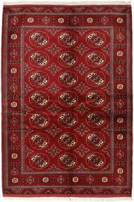Turkaman Teppich 136X200 Echter Orientalischer Handgeknüpfter Dunkelrot/Rot (Wolle, Persien/Iran)
