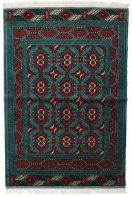 Turkaman Teppich 105X150 Echter Orientalischer Handgeknüpfter Schwartz/Dunkel Türkis (Wolle, Persien/Iran)