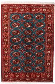 Turkaman Teppich 132X195 Echter Orientalischer Handgeknüpfter Dunkelrot/Schwartz (Wolle, Persien/Iran)