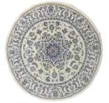 Nain Teppich Ø 200 Echter Orientalischer Handgeknüpfter Rund Dunkel Beige/Dunkelgrau/Hellgrau (Wolle, Persien/Iran)