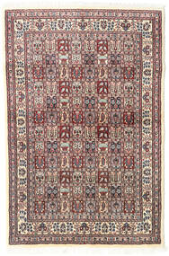 Moud Teppich 98X150 Echter Orientalischer Handgeknüpfter Beige/Hellgrau (Wolle/Seide, Persien/Iran)