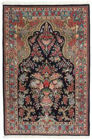 Ghom Kork/Seide Teppich 104X157 Echter Orientalischer Handgeknüpfter Dunkelblau/Dunkelrot (Wolle/Seide, Persien/Iran)