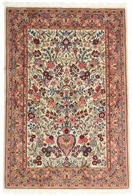 Ghom Kork/Seide Teppich 108X157 Echter Orientalischer Handgeknüpfter Beige/Dunkelbraun (Wolle/Seide, Persien/Iran)