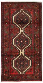 Hamadan Teppich  99X193 Echter Orientalischer Handgeknüpfter Dunkelrot/Dunkelbraun (Wolle, Persien/Iran)