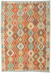 Kelim Afghan Old Style Teppich  205X289 Echter Orientalischer Handgewebter Dunkel Beige/Rot (Wolle, Afghanistan)