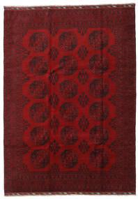 Afghan Teppich 206X288 Echter Orientalischer Handgeknüpfter Dunkelrot/Rot (Wolle, Afghanistan)