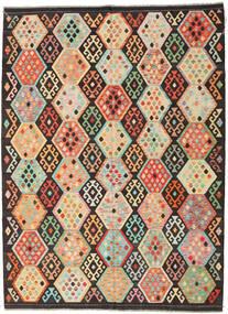 Kelim Afghan Old Style Teppich  216X291 Echter Orientalischer Handgewebter Dunkelbraun/Dunkel Beige (Wolle, Afghanistan)