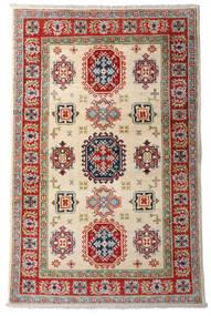 Kazak Teppich 92X144 Echter Orientalischer Handgeknüpfter Dunkelrot/Beige (Wolle, Afghanistan)