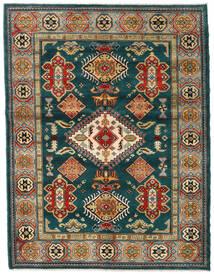 Kazak Teppich 155X203 Echter Orientalischer Handgeknüpfter Dunkelgrün/Dunkelblau (Wolle, Afghanistan)