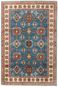 Kazak Teppich 199X302 Echter Orientalischer Handgeknüpfter Dunkelblau/Hellbraun (Wolle, Afghanistan)