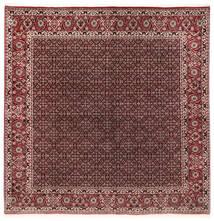 Bidjar Mit Seide Teppich 202X206 Echter Orientalischer Handgeknüpfter Quadratisch Dunkelrot/Dunkelbraun (Wolle/Seide, Persien/Iran)